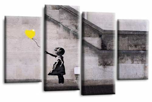 Banksy Art Balloon Girl Love Peace Yellow Grey Canvas Wall Picture